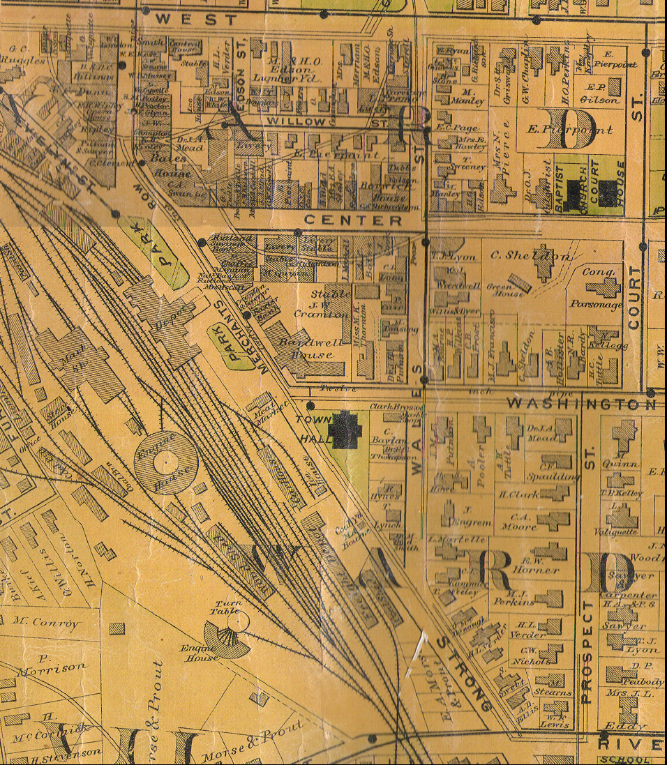 1884 Beers Map of Downtown Rutland