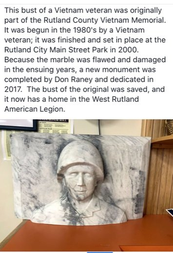 Head of original memorial-Screen shot from Facebook site You Know You're from West Rutland