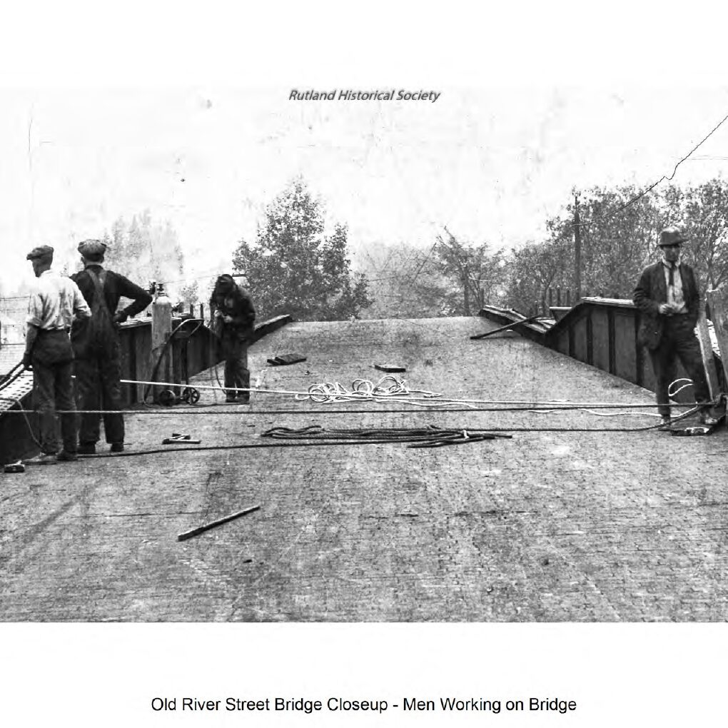 Old River Street Bridge Closeup-Men Working on Bridge